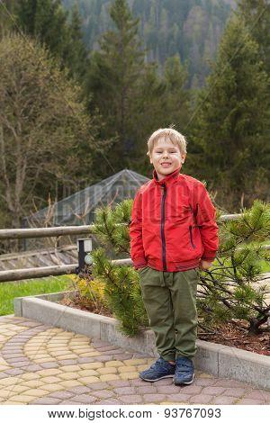 Young boy on a walk,