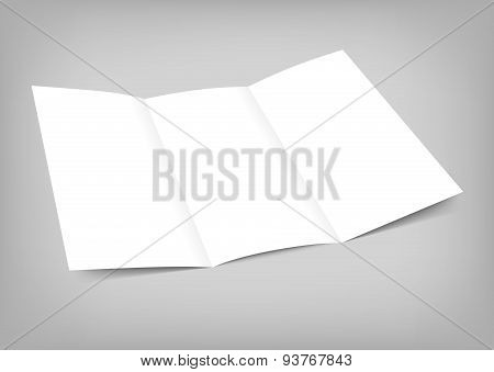 Vector blank tri fold paper flyer on gray background