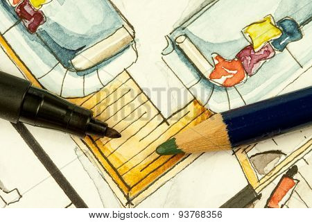 Writing tools on real estate floor plan painting illustration