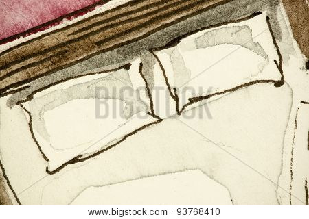 Illustration fragment of double bed white pillows