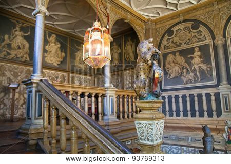 SUSSEX, UK - APRIL 11, 2015: Sevenoaks  Old english mansion interior. Painted stairs