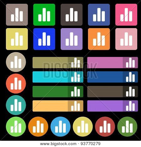 Growth And Development Concept. Graph Of Rate  Icon Sign. Set From Twenty Seven Multicolored Flat Bu