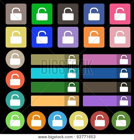 Open Padlock  Icon Sign. Set From Twenty Seven Multicolored Flat Buttons. Vector