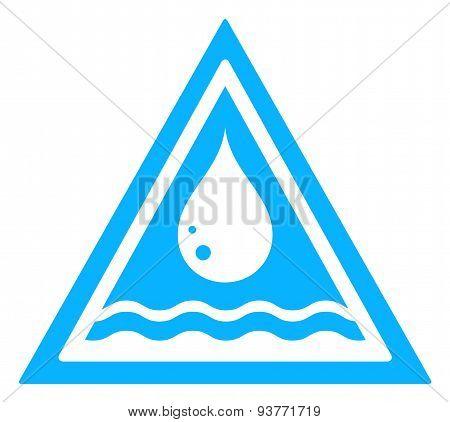 water drop triangular sign