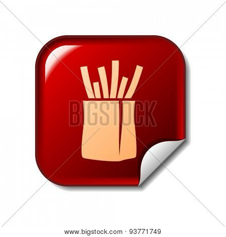 French fries icon on red sticker. Vector illustration