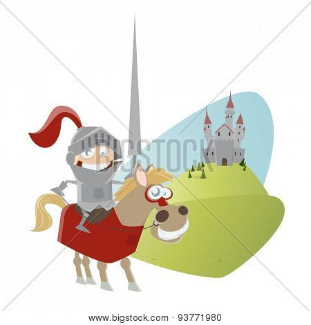 funny cartoon knight on a horse