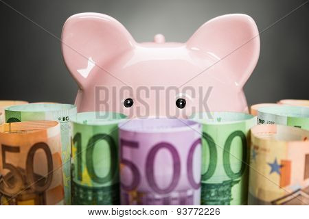 Piggybank With Euro Notes