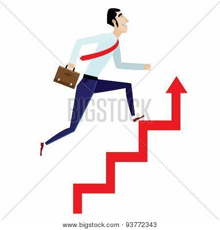 Businessman Running Up On Arrow