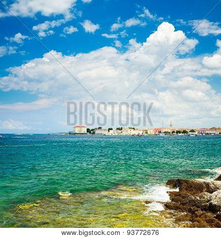 View of Porec from the Sea. Croatia Travel.