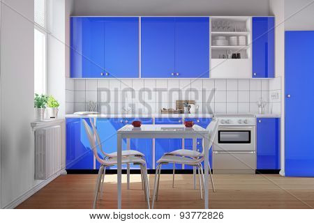 Small clean kitchen with blue kitchenette and table with chairs (3D Rendering)