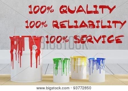 100% Quality Reliability and Service with paint cans (3D Rendering)