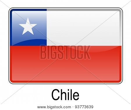 chile official flag, button flag
