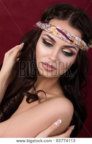 Portrait Of Beautiful Brunet Woman