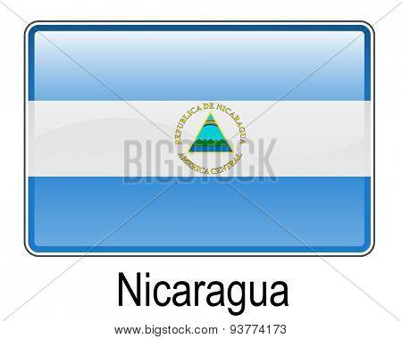 nicaragua official flag, button flag