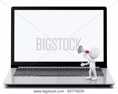 3D White People On Laptop. Online Shopping Concept