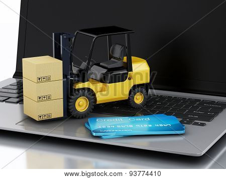 Laptop With Forklift Truck. Delivering Packages