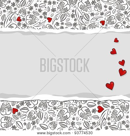 secret garden floral pattern with red hearts and horizontal torn paper
