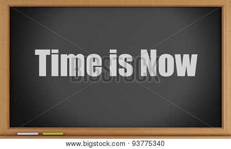 3D Time Is Now Text On Blackboard.