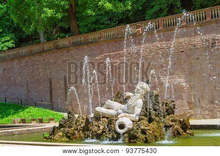 Statue of Neptune in the Heidelberger Castle, Heidelberg, Germany