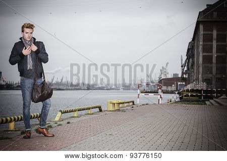 Fashion Model Guy With Bag Outdoors