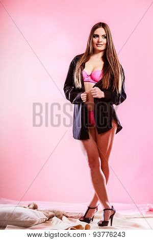 Beauty Woman In Pink Lingerie And Shirt