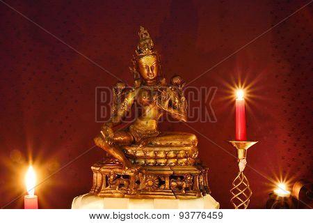 Tara statue on altar
