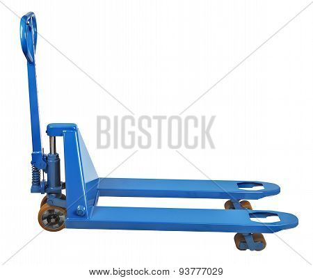 Warehouse Equipment, Blue Used Pallet Truck Isolated On White Background