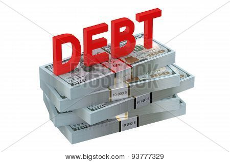 Debt Concept With Dollars