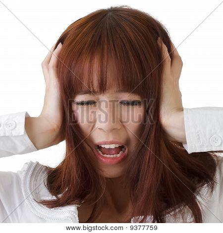 Asian Business Woman Under Stress