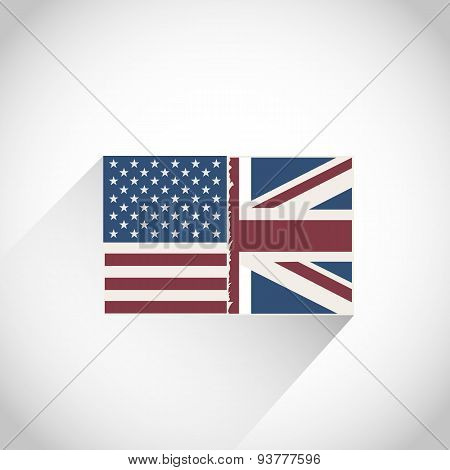 USA with Great Britain Flag
