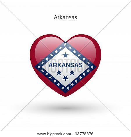 Love Arkansas state symbol. Heart flag icon.