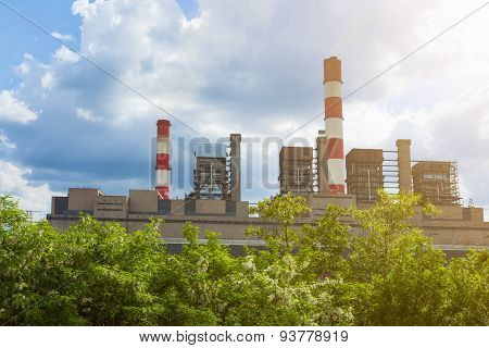 Thermal Power Plant With Chimneys In The Nature