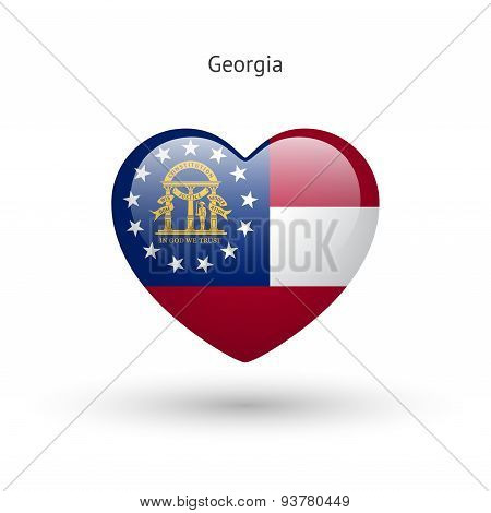 Love Georgia state symbol. Heart flag icon.