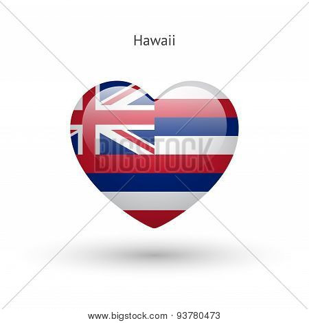 Love Hawaii state symbol. Heart flag icon.