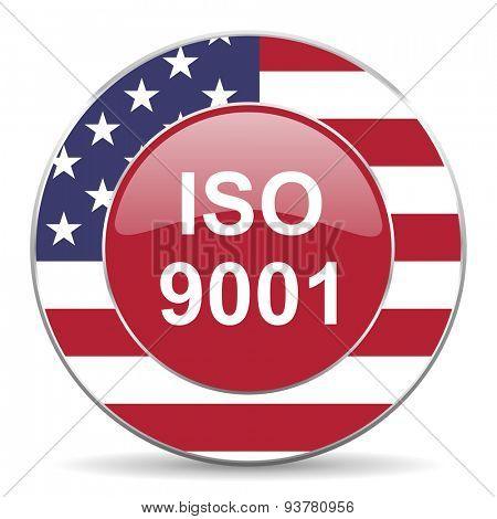 iso 9001 american icon original modern design for web and mobile app on white background