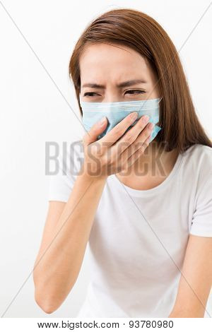 Woman get sick and wear the face mask