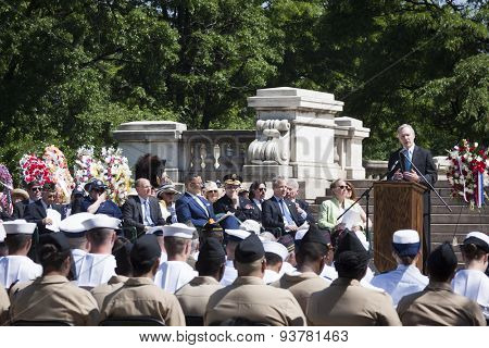 NEW YORK - MAY 25 2015: Secretary of the Navy Ray Mabus addresses the audience including Navy, Coast Guard, and Navy JROTC personnel at the Memorial Day service at the Soldiers and Sailors Monument.