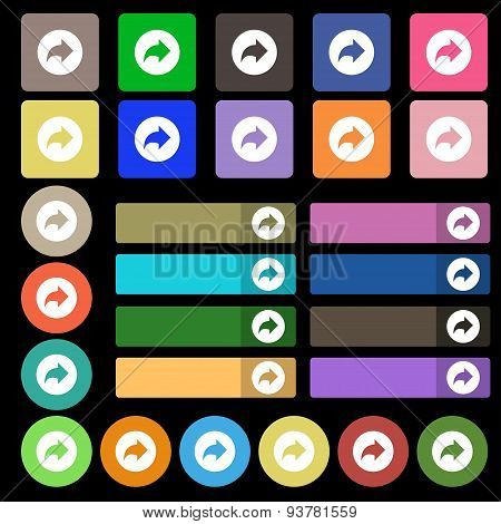 Arrow Right, Next  Icon Sign. Set From Twenty Seven Multicolored Flat Buttons. Vector
