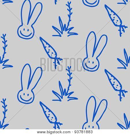 Vector Seamless Print Pattern Of Rabbits, Carrots And Shrubs