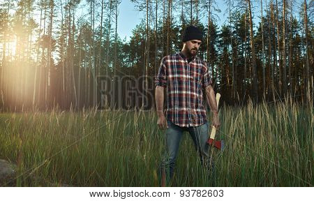 Bearded Lumberjack In Hat Looking Down