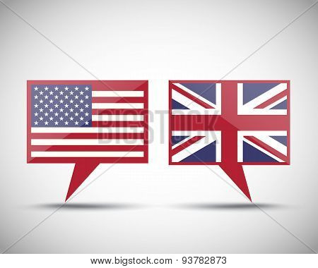 American British conversation speech bubbles
