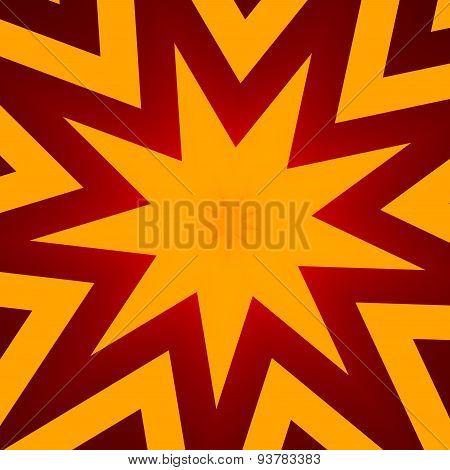 Flat design star illustration for poster. Abstract orange color background for header or banner.