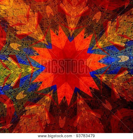Colorful art illustration. Mandala background. Design element. Shapes in rainbow colors. Pattern.