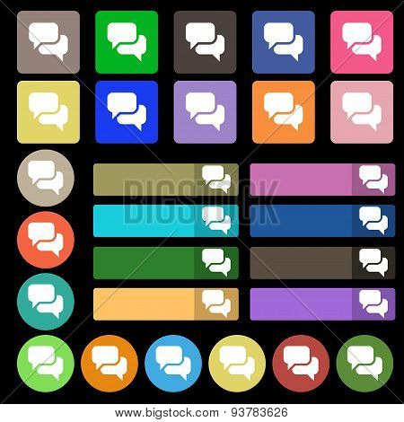 Speech Bubble, Think Cloud  Icon Sign. Set From Twenty Seven Multicolored Flat Buttons. Vector