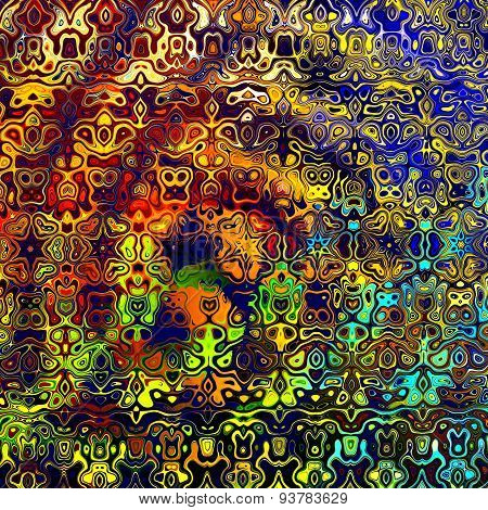 Psychedelic colorful art background illustration. Computer technology style. Decoration element.