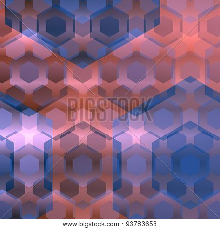 Blue pink overlapping hexagons. Abstract background. Modern computer illustration. Flat design.