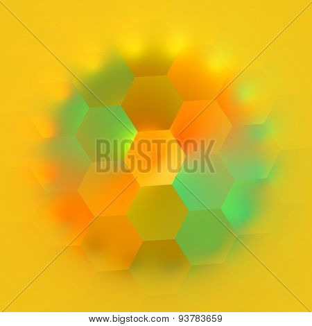 Colorful geometric hexagon shapes on background. Modern computer artistry. Geometry effect.