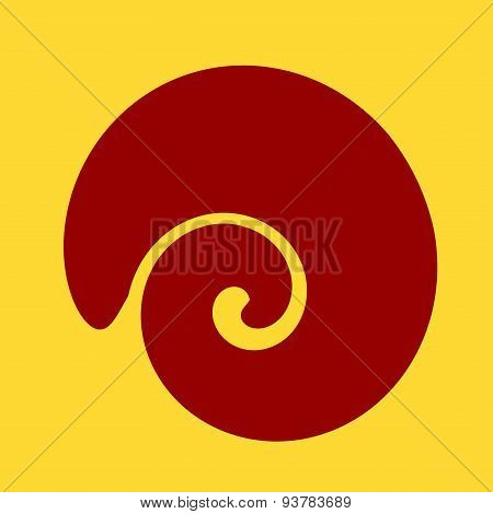 Large spiral shaped shell. Isolated design element on yellow background. Abstract illustration.