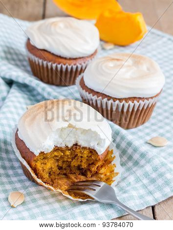 Homemade Pumpkin Cupcakes Decorated With Meringue