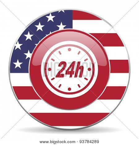24h american icon original modern design for web and mobile app on white background